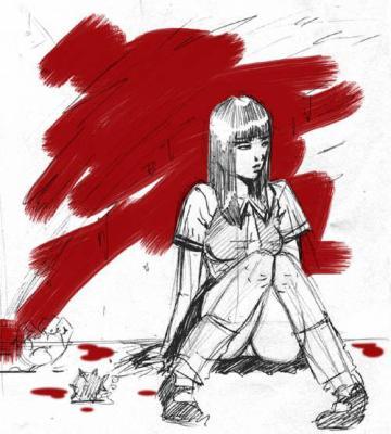 Dibujo chica sentada - Dibujos Manga